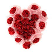 Cheerful 19 Durable Red Roses in Heart Shaped Framework