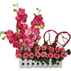Blooming Matching Flowers with a Red Heart and Orchids with Sweet Love