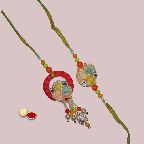 Marvelous Zardozi Rakhi Set for Bhaiya Bhabhi
