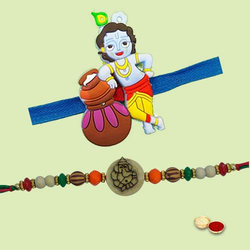 Beautifying Deity Special Twin Rakhi Combo Set