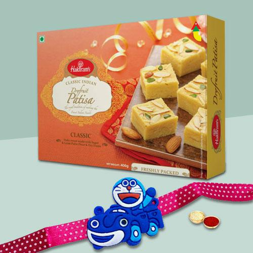 Delectable Patisa Pack from Haldirams with Two Kids Rakhi