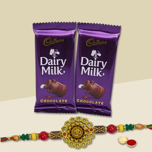 Dazzling Gift of One Rakhi with Two Dairy Milk Chocolate Bars