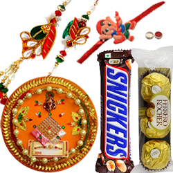 Angelic Combo of Family Rakhi set With Rakhi Thali, Ferrero Rochers N Snickers