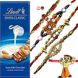 Ultimate Combo of Bhaiya N Kid Rakhi With Lindt Swiss Chocolate Bar