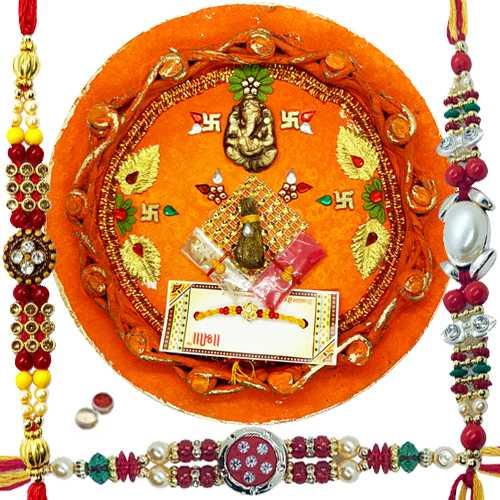 Alluring Rakhi Thali N 3 Rakhi set.