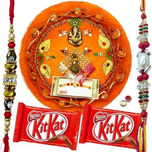 Beautiful Rakhi Thali With 2 Rakhi N KitKat