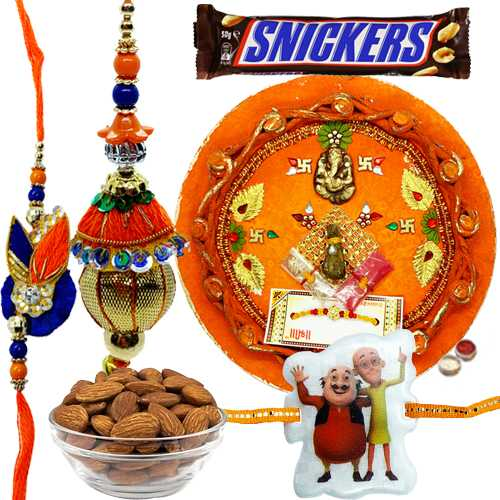 Glee Combo of Rakhi Thali With Bhaiya N Kid Rakhi, Snickers N Almonds