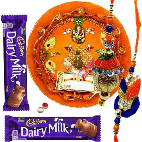 Delight Rakhi Combo of 1 Bhaiya Bhabhi Rakhi With Rakhi Thali N 2 Cadbury Chocolate