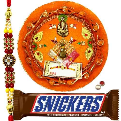 Exclusive Rakhi Thali With 1 Rakhi N  Snickers