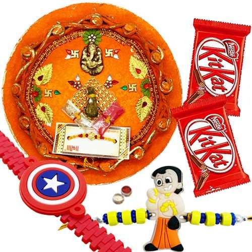 Charming Rakhi Thali ,Kid Rakhi with Kitkat Chocolate