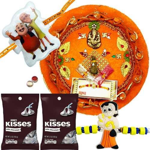Pleasing Combo of Rakhi Thali ,Kid Rakhi with Hersheys Kisses Assorted Chocolate