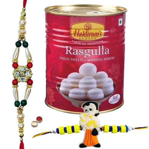 Ultimate Combo of Unique Rakhi, Angry Bird Kid Rakhi, Haldiram Rasgulla