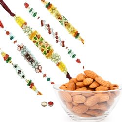 Stylish 5 Rakhi With Almonds
