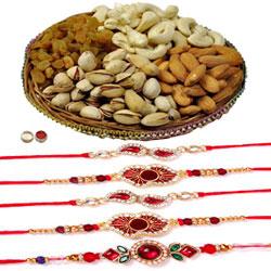Selective 5 Rakhi With Mixed Dry Fruits