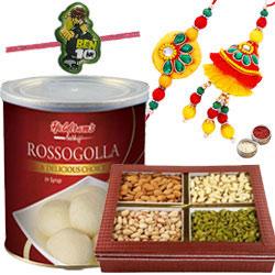 Elegant Bhaiya Bhabhi Rakhi Set, Mix dry fruits Kid Rakhi And Haldiram Rasgulla