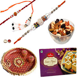 Beautifying Bhaiya Rakhis, Bhabhi Rakhi, Mixed Dry Fruits, Haldiram Soan Papdi And Pooja Thali