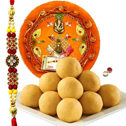 Rakhi with Besan Ladoo and Thali