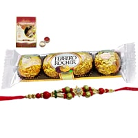 A 4 pcs Ferrero Rocher Chocolate Pack with Rakhi and Roli Tilak Chawal