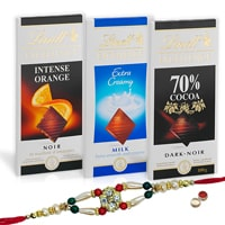 Fantastic Lindt Chocolate Bars with Rakhi Hamper with Everlasting Joy