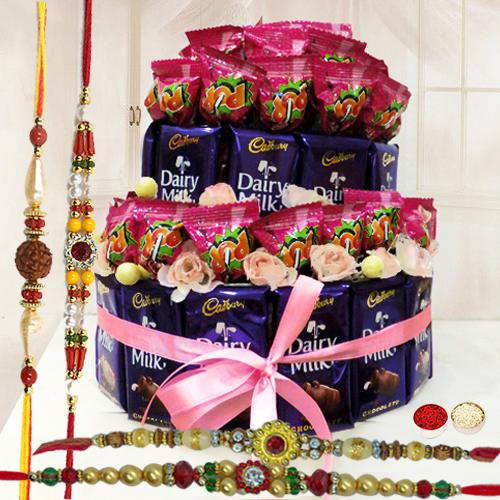 Wholesome Explosion of Taste Chocolate Arrangement with Free 4 Rakhis and Roli Tilak Chawal