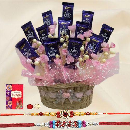 Sweet Memories Chocolates Gift Set with Free 2 Rakhis and Roli Tilak Chawal