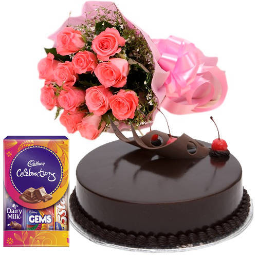 Send Pink Roses with Cake N Cadury Pack