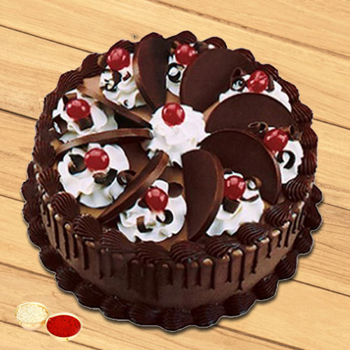 Joyful Treat Dark Chocolate Cake with free Roli Tilak and Chawal