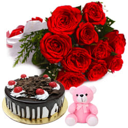 Deliver Online Red Roses Bouquet with Teddy N Black Forest Cake