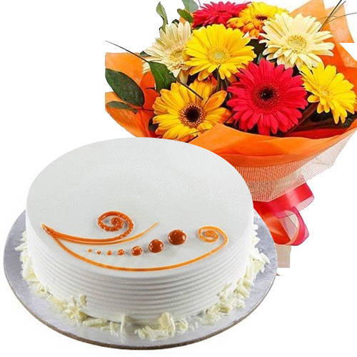 Send Combo Gift of Mixed Flowers Bouquet N Vanilla Cake Online