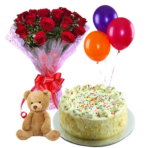 Buy Vanilla Cake, Red Roses Bouquet, Teddy N Balloons Online