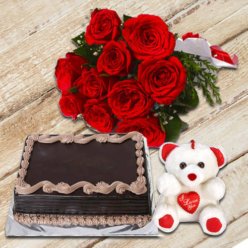 Online Gift Red Roses Bouquet with Teddy N Chocolate Cake
