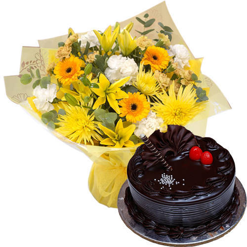 Online Order Mixed Flowers Bunch N Chocolate Truffle Cake