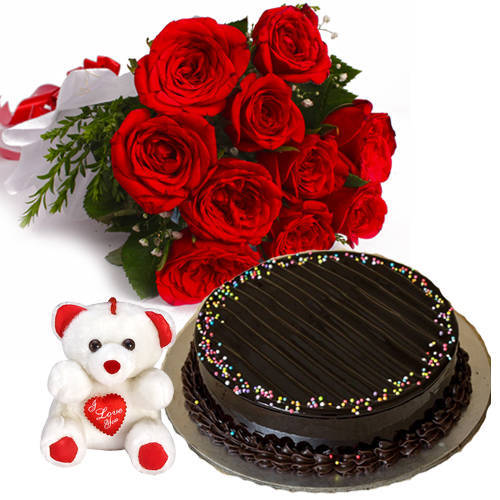 Shop Red Roses Bouquet with Truffle Cake N Teddy Online