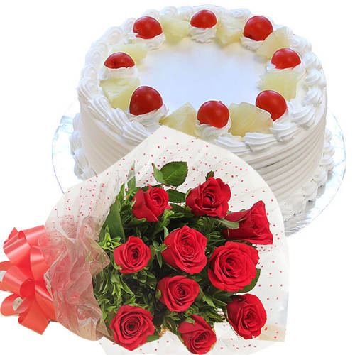 Order Combo Gift of Red Roses Bouquet N Pineapple Cake Online