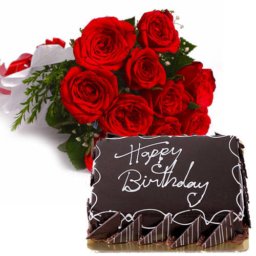 Order Online Chocolaty Cake with Red Roses Bunch