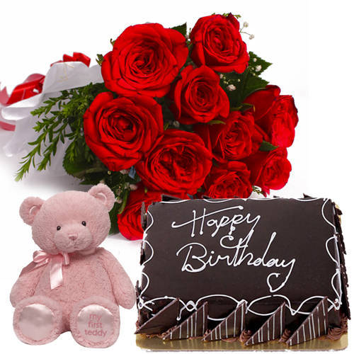 Deliver Eggless Choco Cake with Red Roses Bouquet N Teddy Online