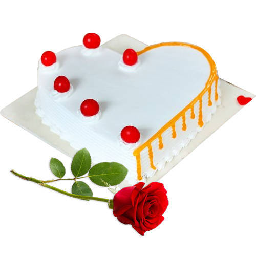 Gift Online Heart-Shape Vanilla Cake with Single Rose