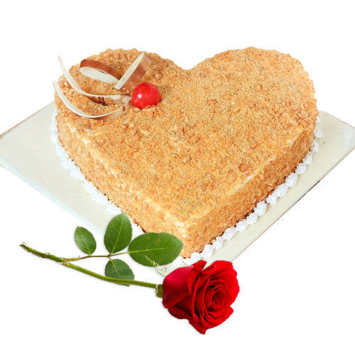 Buy Heart Shape Butter Scotch Cake with Single Rose Online