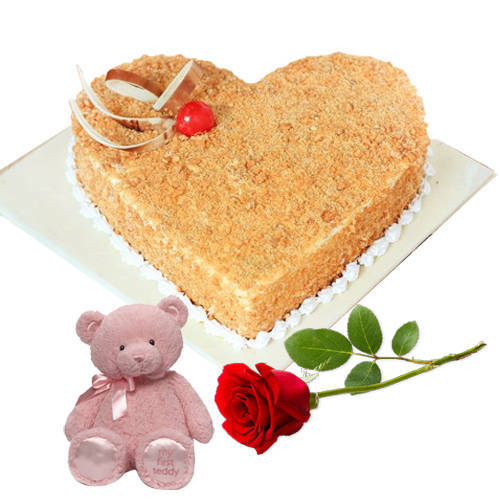 Buy Online Heart Shape Butter Scotch Cake with Teddy N Single Rose