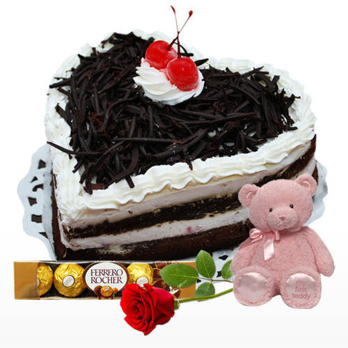 Buy Black Forest Cake in Heart Shape with Teddy, Single Rose N Ferrero Rocher Online