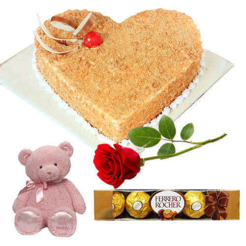 Shop Online Heart-Shape Butter Scotch Cake with Teddy, Ferrero Rocher N Single Rose