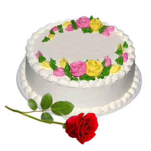 Deliver Eggless Vanilla Cake with Single Rose