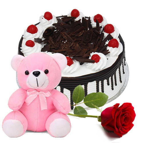 Buy Combo oF Eggless Black Forest Cake with Teddy N Red Rose Online