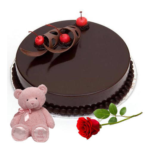 Book Eggless Chocolate Cake with Single Rose N Teddy Online