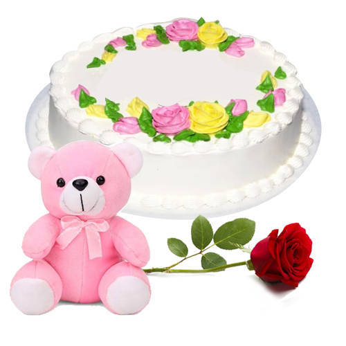 Order Online Eggless Vanilla Cake with Teddy N Red Rose
