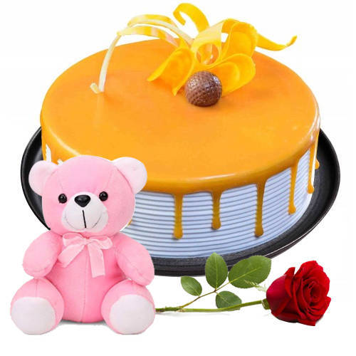 Send Online Eggless Butter Scotch Cake with Single Rose N Teddy
