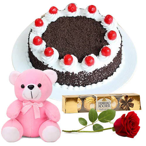 Deliver Online Eggless Black Forest Cake with Ferrero Rocher, Teddy N Single Rose