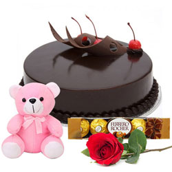 Book Red Roses with Chocolate Cake Online