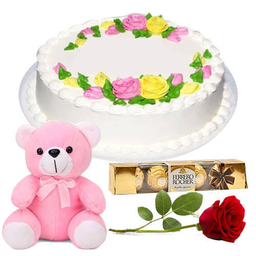 Buy Online Eggless Vanilla Cake with Single Rose, Teddy N Ferrero Rocher