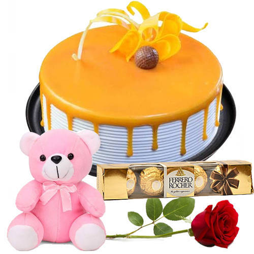 Order Online Eggless Butter Scotch Cake with Red Rose, Teddy N Ferrero Rocher